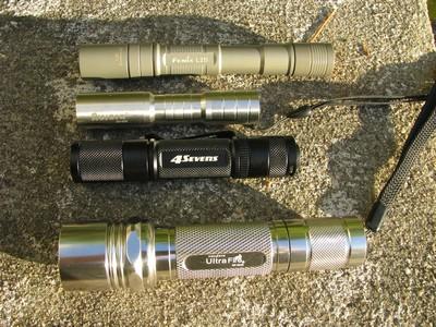 Fenix L2D, Aurora SH-035, Quark 123-2, Ultrafire WF-504B