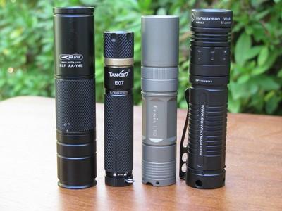 Mr.Lite BLF-AAY4E, Tank007 E07, Fenix L1D, and Sunwayman V10A