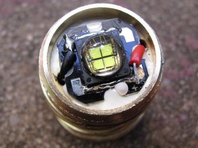 Cree MC-E LED mounted to pill