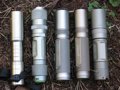 Aurora SH-035, Uniquefire S10, AKOray K-106, Uniquefire AA-S1, and Fenix L1D
